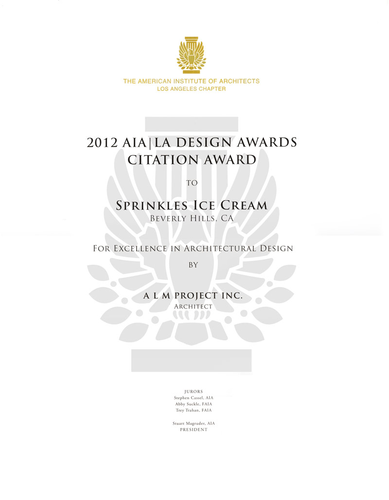 AIA Award for Sprinkles Ice Cream - Interior Architecture